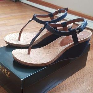 Ralph Lauren Shoes - Ralph Lauren Leather Reeta Wedge